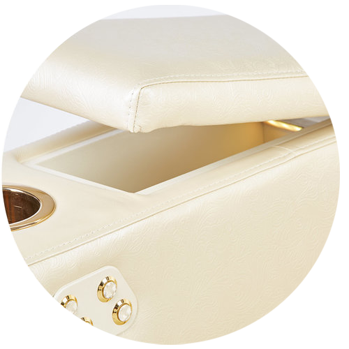 תא אחסון MOOVIA בצבע לבן וכפתורי זהב