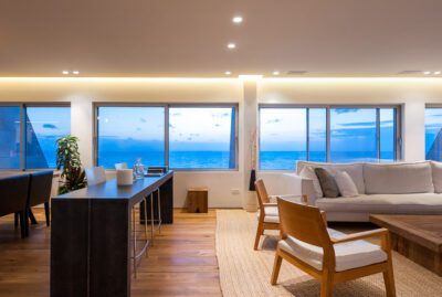 Living room designed by an architect with a sea view